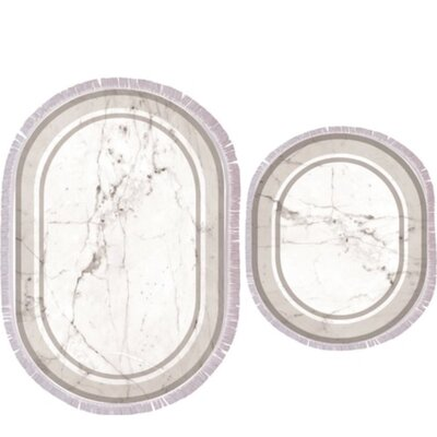 Verret 2 Piece Marble Bath Rug Set Color: Gray