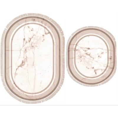 Verret 2 Piece Marble Bath Rug Set Color: Beige
