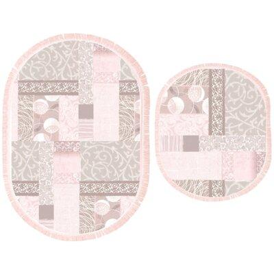 Gabbert 2 Piece Patchwork Bath Rug Set Color: Pink