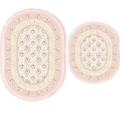 Vanwinkle 2 Piece Trellis Bath Rug Set Color: Baby pink