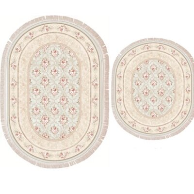 Vanwinkle 2 Piece Trellis Bath Rug Set Color: Beige