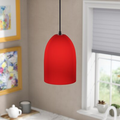 5.25 Glass Oval Pendant Shade Glass Color: Red