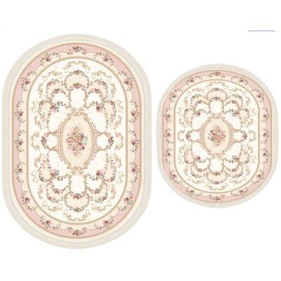 Vanwagenen 2 Piece Poyraz Traditional Bath Rug Set Color: Pink