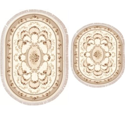 Vanwagenen 2 Piece Poyraz Traditional Bath Rug Set Color: Beige