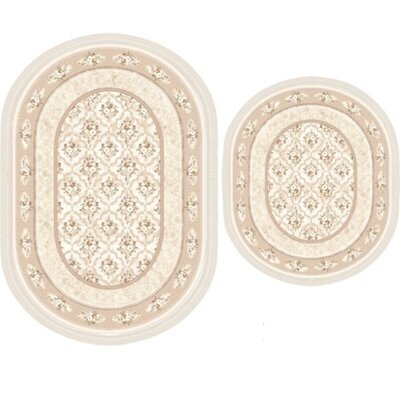 Vanwinkle 2 Piece Trellis Bath Rug Set Color: Ivory