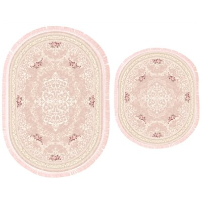 Vanwagoner 2 Piece Bath Rug Set Color: Pink