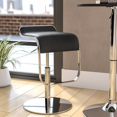 Crites Adjustable Height Swivel Bar Stool Upholstery: Black