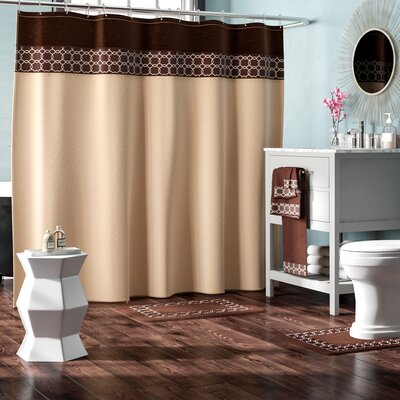 Austyn 18 Piece Embroidery Shower Curtain Set Color: Beige/Brown