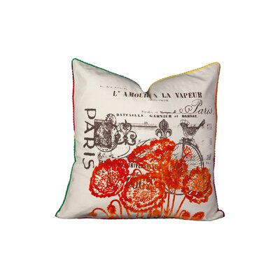 Vereen Paris Flock Cotton Throw Pillow