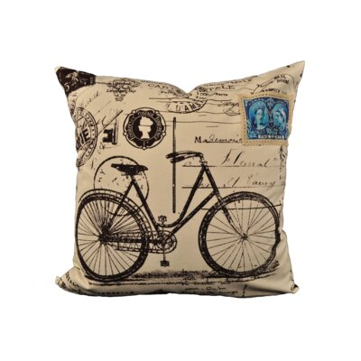 Pyle Bike Postcard Cotton Throw Pillow