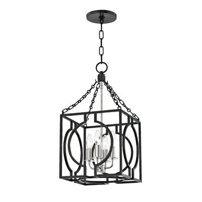 Lehner 4-Light Foyer Pendant Finish: Aged Iron/Polished Nickel