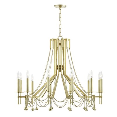 Wadsworth 12-Light Candle-Style Chandelier Finish: Aged Brass