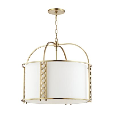 Legros 8-Light Drum Pendant Finish: Aged Brass, Size: 22 H x 24 W x 24 D