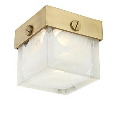 Marchese 1-Light LED Flush Mount Fixture Finish: Aged Brass