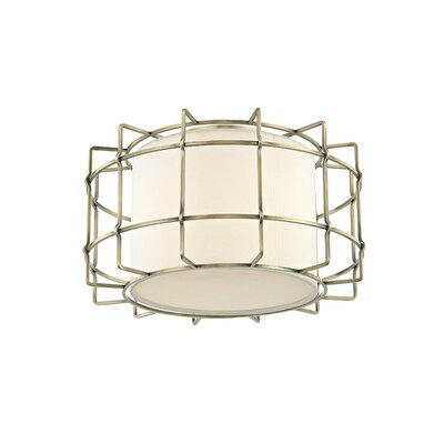 Tahlequah 2-Light LED Flush Mount Fixture Finish: Aged Brass