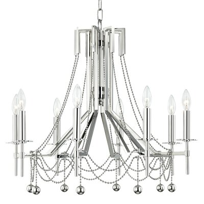 Wadsworth 8-Light Candle-Style Chandelier Finish: Polished Nickel