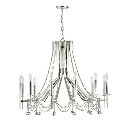 Wadsworth 12-Light Candle-Style Chandelier Finish: Polished Nickel