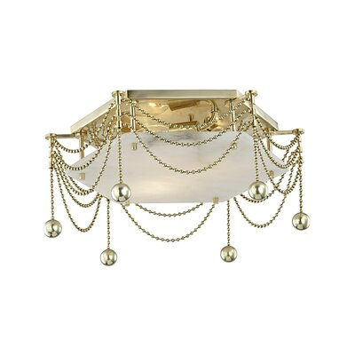 Wadsworth 3-Light Flush Mount Fixture Finish: Aged Brass