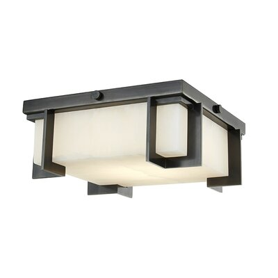 Tameka 1-Light LED Flush Mount Fixture Finish: Old Bronze, Size: 4.25 H x 10.25 W x 10.25 D