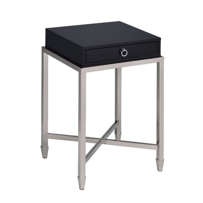 Woodman 1-Drawer Brushed Nickel End Table with Storage Table Top Color: Black