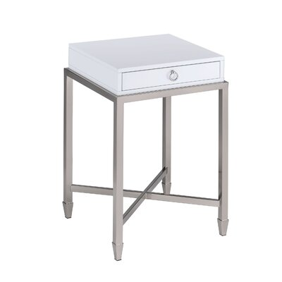 Woodman 1-Drawer Brushed Nickel End Table with Storage Table Top Color: White