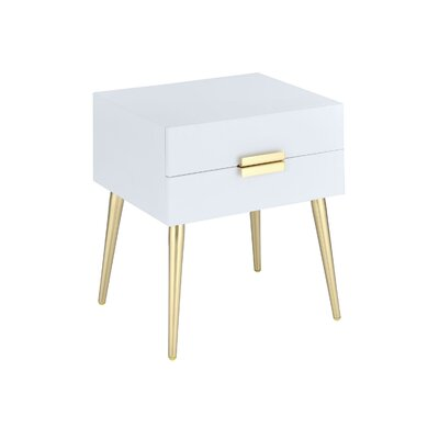 Leite 2-Drawer End Table with Storage Table Top Color: White