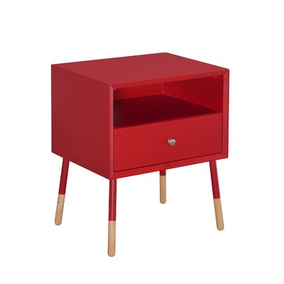 Meagher 1-Drawer End Table with Storage Color: Red