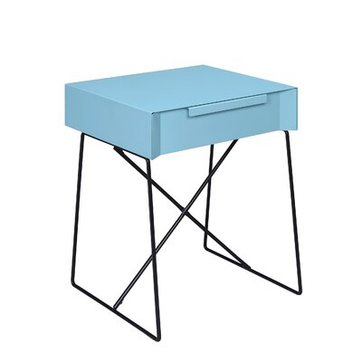 Emig 1-Drawer End Table with Storage Table Top Color: Teal