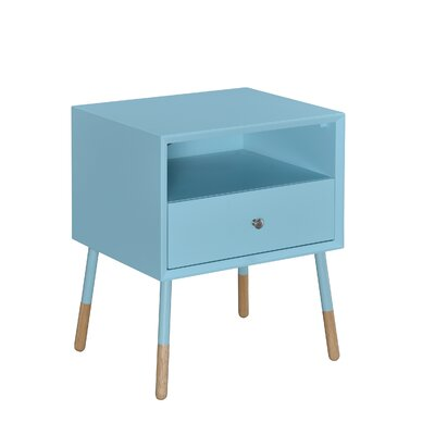 Meagher 1-Drawer End Table with Storage Color: Teal
