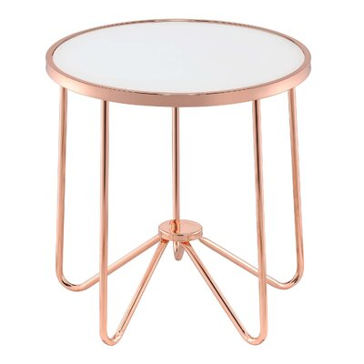 Hunsaker Smoke Glass End Table Table Top Color: Rose Gold