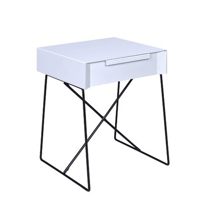 Emig 1-Drawer End Table with Storage Table Top Color: White