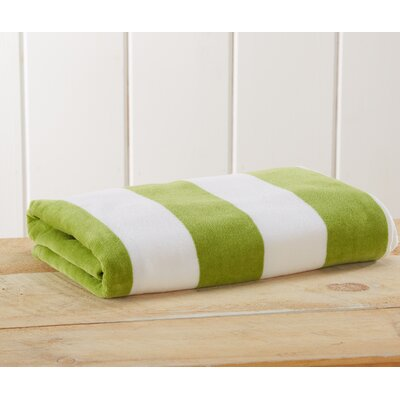 Stripe Velour Beach Towel Color: Green
