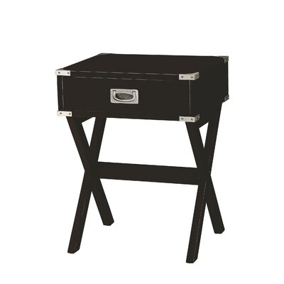 Hummer 1-Drawer End Table with Storage Color: Black