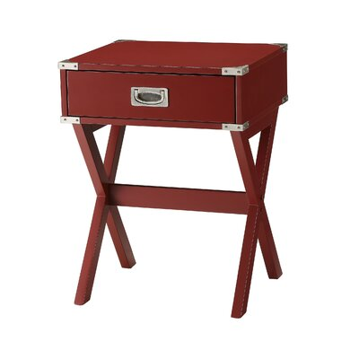 Hummer 1-Drawer End Table with Storage Color: Red