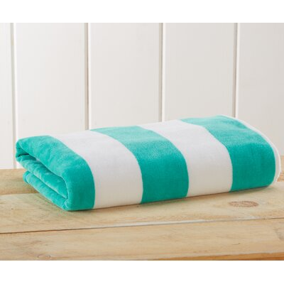 Stripe Velour Beach Towel Color: Teal