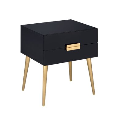 Leite 2-Drawer End Table with Storage Table Top Color: Black