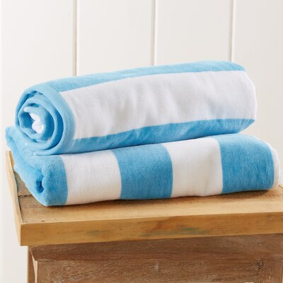 Stripe Velour Beach Towel Color: Air Blue