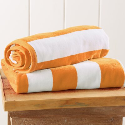 Stripe Velour Beach Towel Color: Orange
