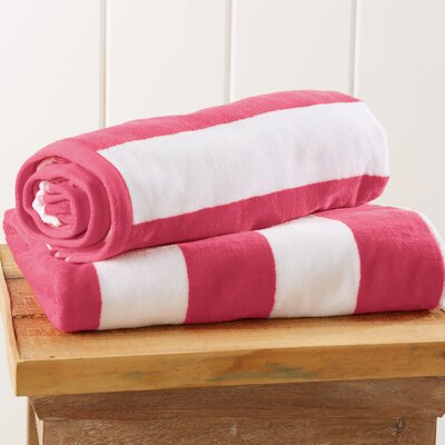 Stripe Velour Beach Towel Color: Pink