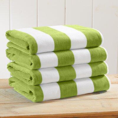 Stripe Velour Beach Towel Color: Green