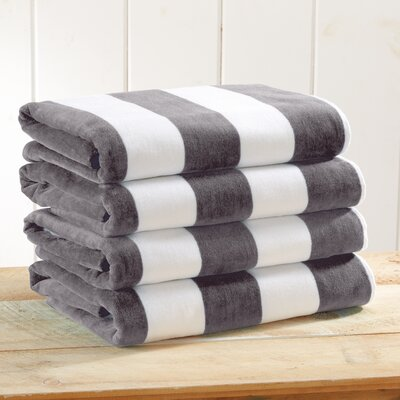 Stripe Velour Beach Towel Color: Charcoal Gray