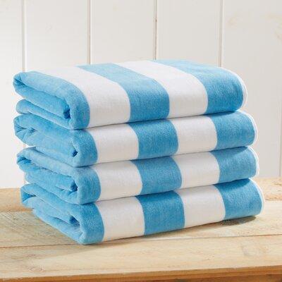 Stripe Velour Beach Towel Color: Air Blue