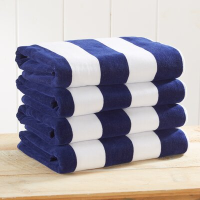 Stripe Velour Beach Towel Color: Navy