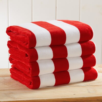 Stripe Velour Beach Towel Color: Red