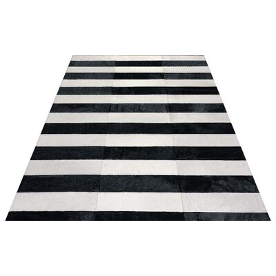 One-of-a-Kind Jabbawy Lines Hand-Woven Cowhide Black/White Area Rug