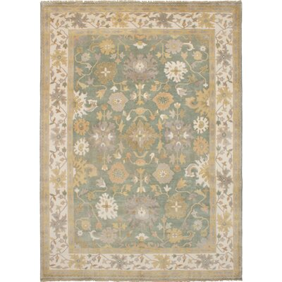 One-of-a-Kind Li Hand-Knotted Wool Teal Area Rug