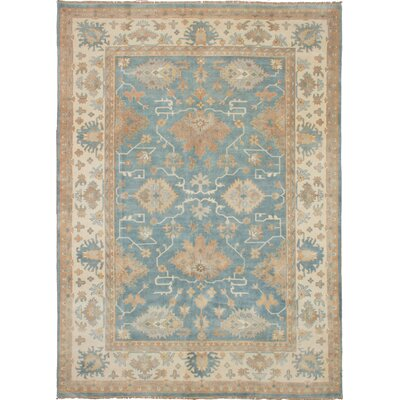 One-of-a-Kind Li Hand-Knotted Wool Light Denim Blue Area Rug