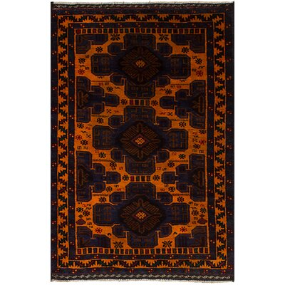 One-of-a-Kind Bilbo Hand-Knotted Wool Navy Blue/Orange Area Rug