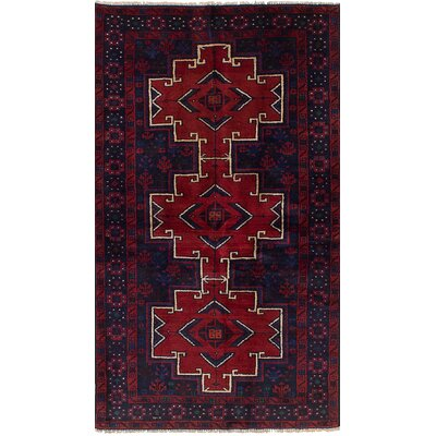 One-of-a-Kind Ingham Hand-Knotted Wool Dark Navy/Red Area Rug
