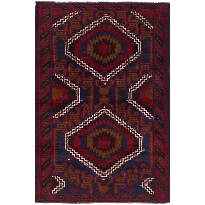 One-of-a-Kind Onawa Hand-Knotted Wool Navy Blue/Red Area Rug